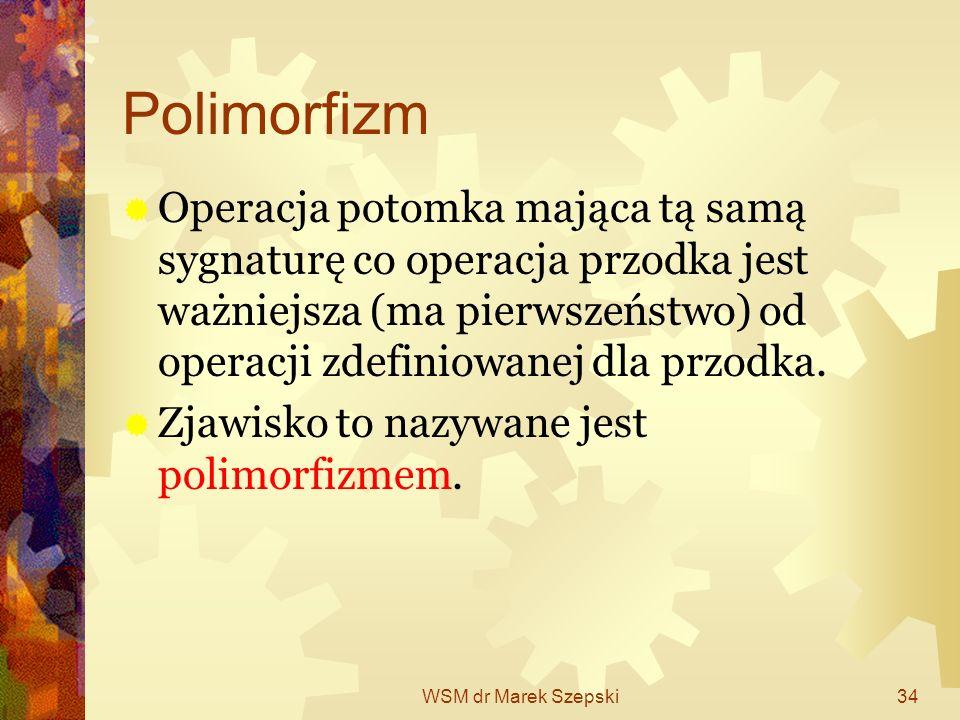 WSM dr Marek Szepski34 Polimorfizm Operacja potomka mająca tą samą sygnaturę co operacja przodka jest ważniejsza (ma pierwszeństwo) od operacji zdefin