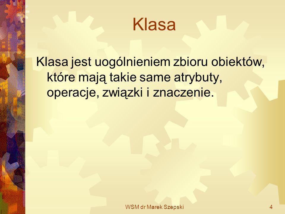 WSM dr Marek Szepski15 Diagram klas: Konceptualny (analityczny, poziom koncepcyjny) Implementacyjny – zawiera szczegóły atrybutów, operacji, zobowiązań Do diagramu implementacyjnego dochodzi się w kolejnych krokach dodając szczegóły