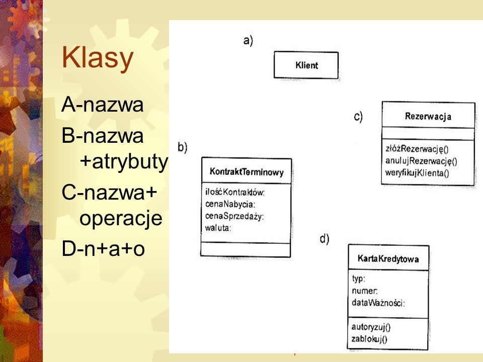 WSM dr Marek Szepski16 Widoczność Określa dostępność atrybutów i operacji +, publiczny, obiekty wszystkich klas maja dostęp -, prywatny, tylko obiekty danej klasy mają dostęp do atrybutów i operacji #, chroniony, dostęp maja obiekty z klas dziedziczących