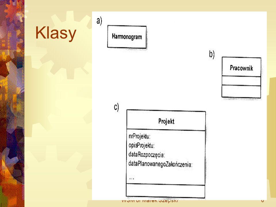 WSM dr Marek Szepski7 Klasa Klasa jest pojęciem ogólnym i składa się z pewnej liczny obiektów.