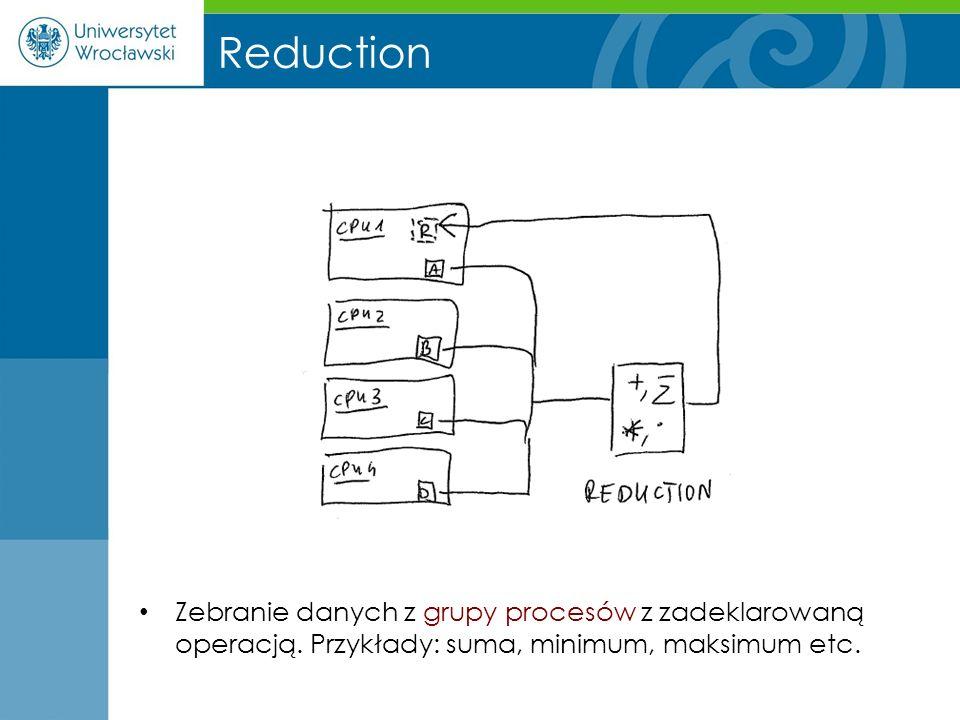 Reduction Zebranie danych z grupy procesów z zadeklarowaną operacją. Przykłady: suma, minimum, maksimum etc.