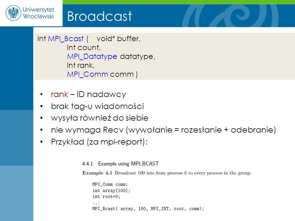 Broadcast rank – ID nadawcy brak tag-u wiadomości wysyła również do siebie nie wymaga Recv (wywołanie = rozesłanie + odebranie) Przykład (za mpi-repor