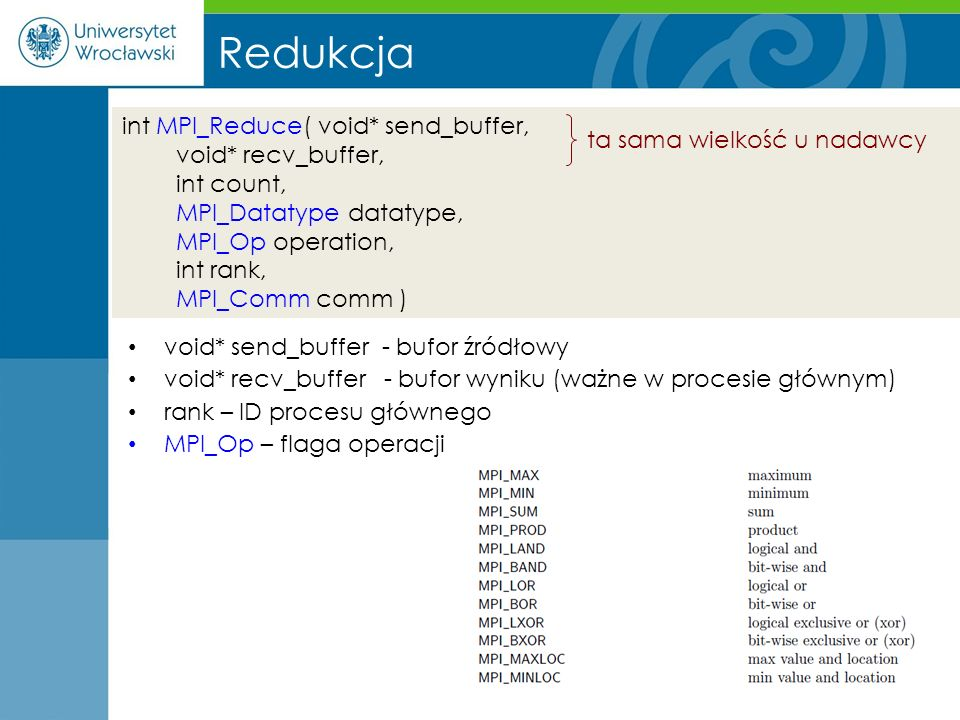 int MPI_Reduce( void* send_buffer, void* recv_buffer, int count, MPI_Datatype datatype, MPI_Op operation, int rank, MPI_Comm comm ) Redukcja void* sen