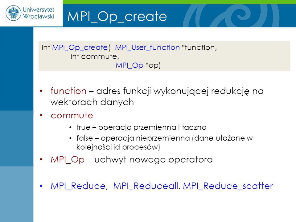 MPI_Op_create function – adres funkcji wykonującej redukcję na wektorach danych commute true – operacja przemienna i łączna false – operacja nieprzemi