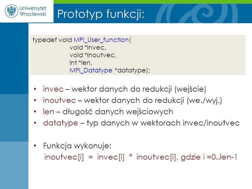 Prototyp funkcji: invec – wektor danych do redukcji (wejście) inoutvec – wektor danych do redukcji (we./wyj.) len – długość danych wejściowych datatyp