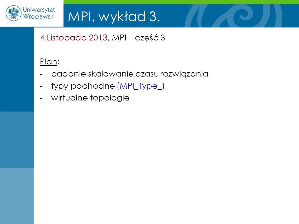 MPI, wykład 3. 4 Listopada 2013, MPI – część 3 Plan: -badanie skalowanie czasu rozwiązania -typy pochodne (MPI_Type_) -wirtualne topologie