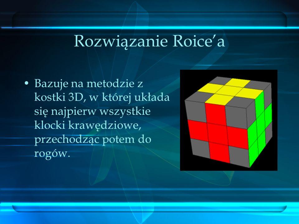 Rozwiązanie Roicea Bazuje na metodzie z kostki 3D, w której układa się najpierw wszystkie klocki krawędziowe, przechodząc potem do rogów.