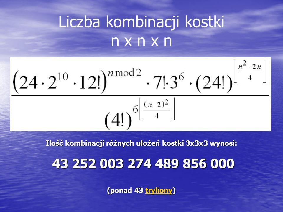 Liczba kombinacji kostki n x n x n Ilość kombinacji różnych ułożeń kostki 3x3x3 wynosi: 43 252 003 274 489 856 000 43 252 003 274 489 856 000 (ponad 4