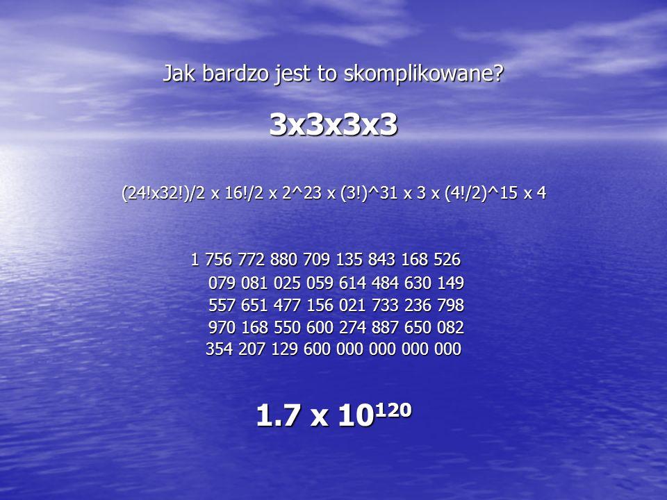 Jak bardzo jest to skomplikowane? 3x3x3x3 (24!x32!)/2 x 16!/2 x 2^23 x (3!)^31 x 3 x (4!/2)^15 x 4 1 756 772 880 709 135 843 168 526 079 081 025 059 6