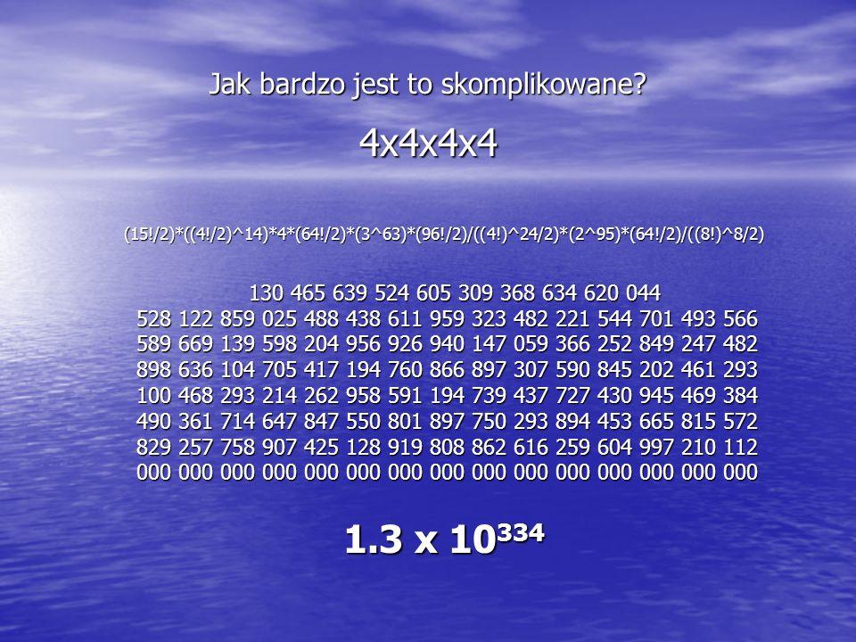 Jak bardzo jest to skomplikowane? 4x4x4x4 (15!/2)*((4!/2)^14)*4*(64!/2)*(3^63)*(96!/2)/((4!)^24/2)*(2^95)*(64!/2)/((8!)^8/2) (15!/2)*((4!/2)^14)*4*(64