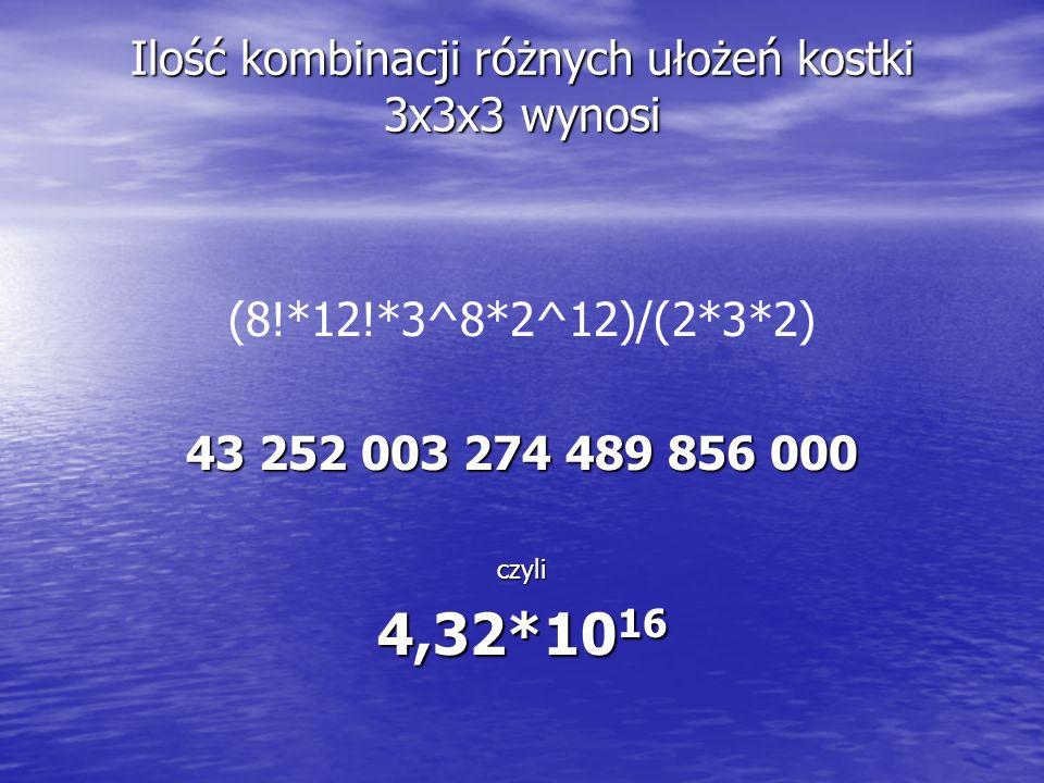 Ilość kombinacji różnych ułożeń kostki 3x3x3 wynosi (8!*12!*3^8*2^12)/(2*3*2)43 252 003 274 489 856 000czyli 4,32*10 16