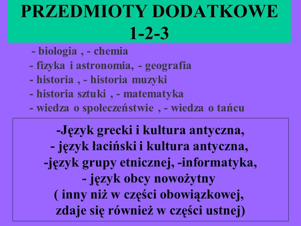 PRZEDMIOTY DODATKOWE 1-2-3 - biologia, - chemia - fizyka i astronomia, - geografia - historia, - historia muzyki - historia sztuki, - matematyka - wie