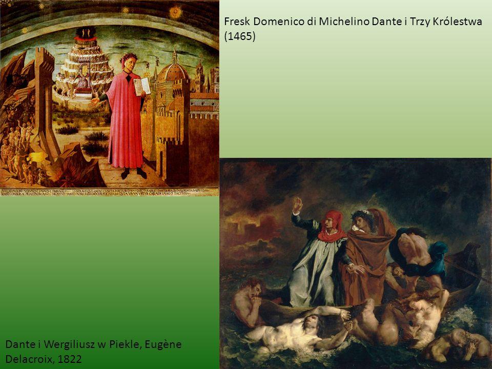 Fresk Domenico di Michelino Dante i Trzy Królestwa (1465) Dante i Wergiliusz w Piekle, Eugène Delacroix, 1822
