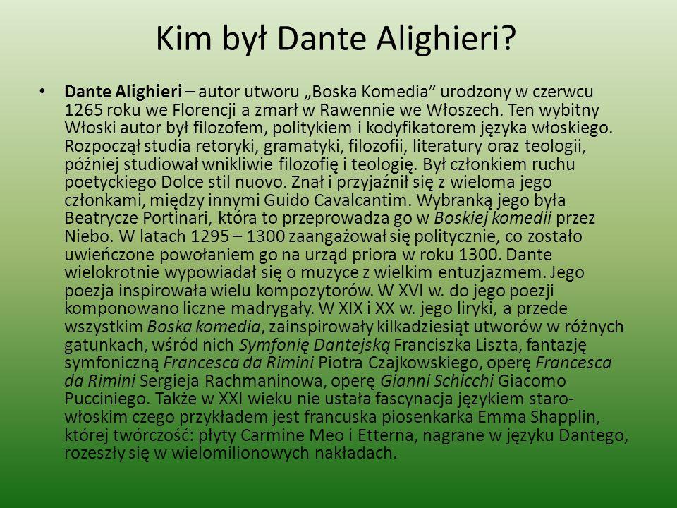 Kim był Dante Alighieri? Dante Alighieri – autor utworu Boska Komedia urodzony w czerwcu 1265 roku we Florencji a zmarł w Rawennie we Włoszech. Ten wy