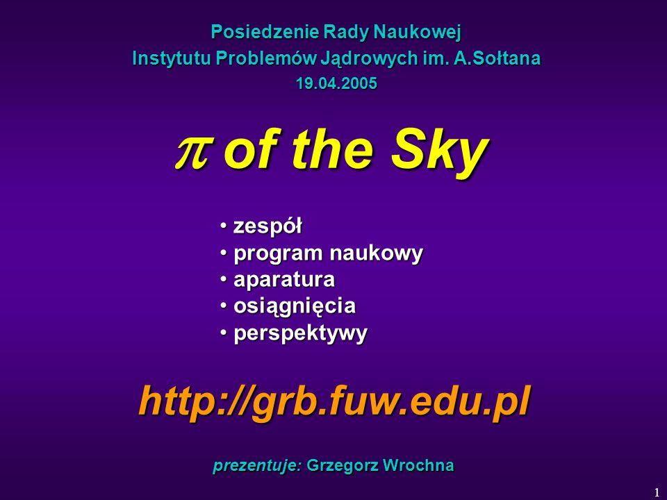 1 Posiedzenie Rady Naukowej Instytutu Problemów Jądrowych im. A.Sołtana 19.04.2005 of the Sky of the Sky prezentuje: Grzegorz Wrochna zespół zespół pr