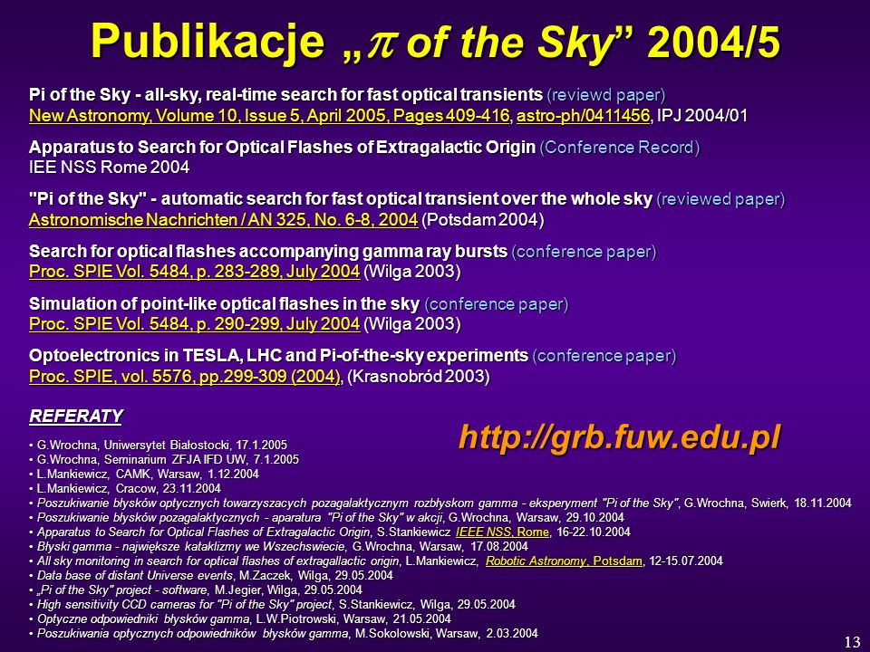 13 Publikacje of the Sky 2004/5 Pi of the Sky - all-sky, real-time search for fast optical transients (reviewd paper) New Astronomy, Volume 10, Issue 5, April 2005, Pages 409-416, astro-ph/0411456, IPJ 2004/01 New Astronomy, Volume 10, Issue 5, April 2005, Pages 409-416astro-ph/0411456 New Astronomy, Volume 10, Issue 5, April 2005, Pages 409-416astro-ph/0411456 Apparatus to Search for Optical Flashes of Extragalactic Origin (Conference Record) IEE NSS Rome 2004 Pi of the Sky - automatic search for fast optical transient over the whole sky (reviewed paper) Astronomische Nachrichten / AN 325, No.