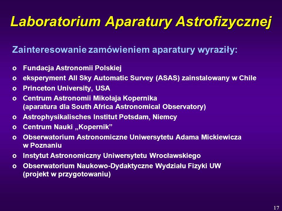 17 Laboratorium Aparatury Astrofizycznej Zainteresowanie zamówieniem aparatury wyraziły: oFundacja Astronomii Polskiej oeksperyment All Sky Automatic