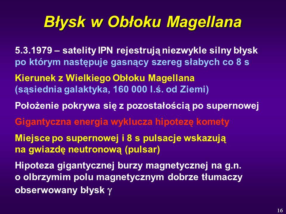 16 Błysk w Obłoku Magellana 5.3.1979 – satelity IPN rejestrują niezwykle silny błysk po którym następuje gasnący szereg słabych co 8 s Kierunek z Wiel