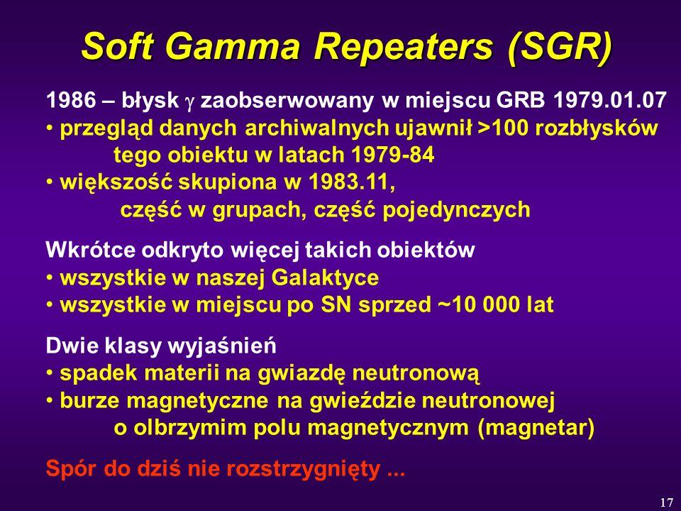 17 Soft Gamma Repeaters (SGR) 1986 – błysk zaobserwowany w miejscu GRB 1979.01.07 przegląd danych archiwalnych ujawnił >100 rozbłysków tego obiektu w
