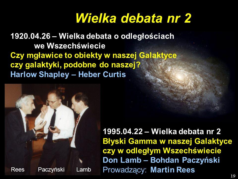 19 Wielka debata nr 2 1920.04.26 – Wielka debata o odległościach we Wszechświecie Czy mgławice to obiekty w naszej Galaktyce czy galaktyki, podobne do