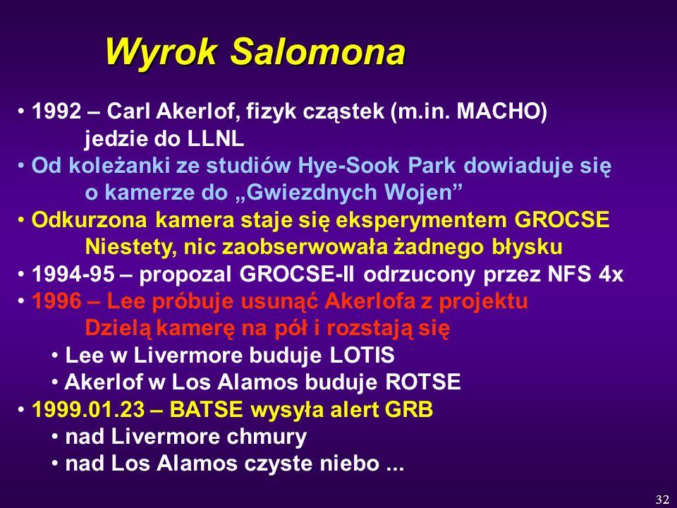 32 Wyrok Salomona 1992 – Carl Akerlof, fizyk cząstek (m.in. MACHO) jedzie do LLNL Od koleżanki ze studiów Hye-Sook Park dowiaduje się o kamerze do Gwi