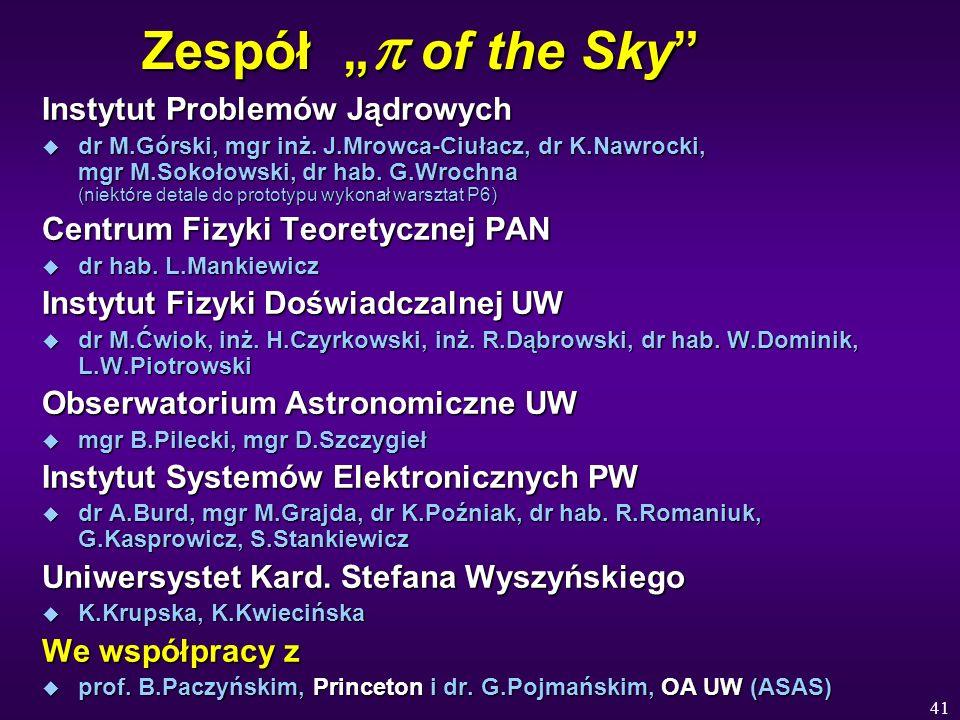 41 Zespół of the Sky Instytut Problemów Jądrowych u dr M.Górski, mgr inż. J.Mrowca-Ciułacz, dr K.Nawrocki, mgr M.Sokołowski, dr hab. G.Wrochna (niektó