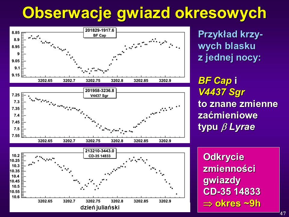 47 Obserwacje gwiazd okresowych Przykład krzy- wych blasku z jednej nocy: BF Cap i V4437 Sgr to znane zmienne zaćmieniowe typu Lyrae Odkrycie Odkrycie