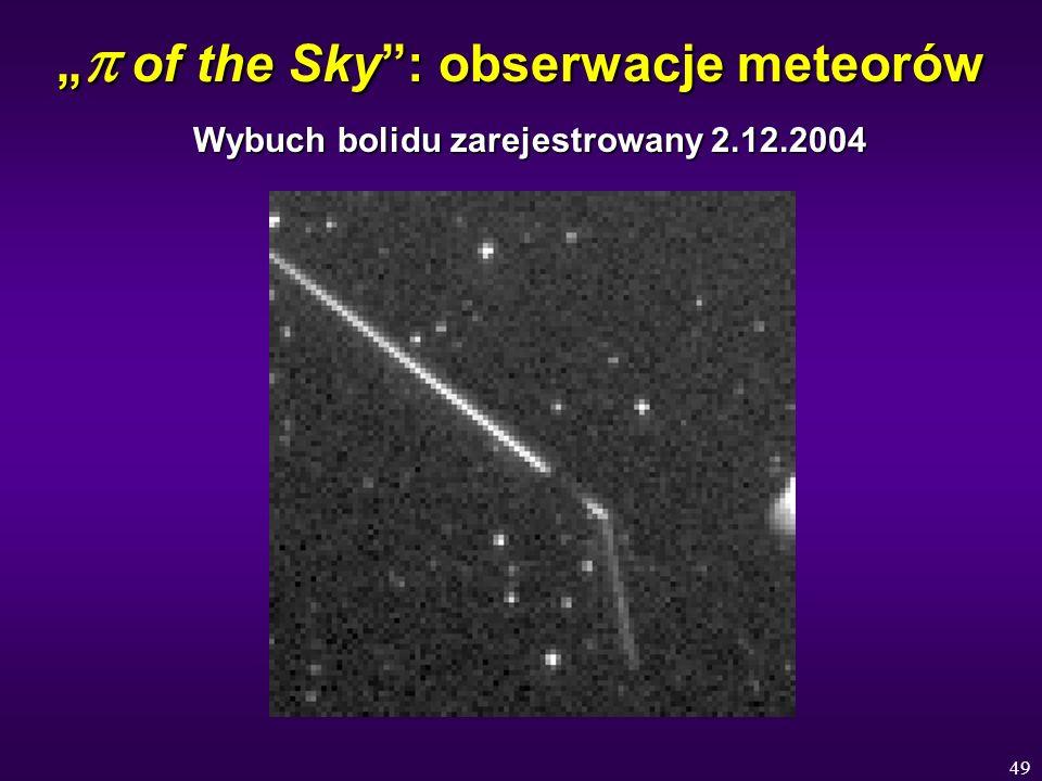 49 of the Sky: obserwacje meteorów of the Sky: obserwacje meteorów Wybuch bolidu zarejestrowany 2.12.2004