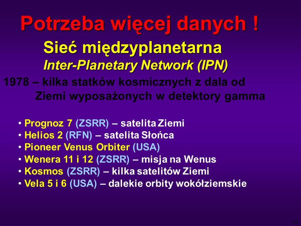 15 Sieć międzyplanetarna Inter-Planetary Network (IPN) 1978 – kilka statków kosmicznych z dala od Ziemi wyposażonych w detektory gamma Prognoz 7 (ZSRR) – satelita Ziemi Helios 2 (RFN) – satelita Słońca Pioneer Venus Orbiter (USA) Wenera 11 i 12 (ZSRR) – misja na Wenus Kosmos (ZSRR) – kilka satelitów Ziemi Vela 5 i 6 (USA) – dalekie orbity wokółziemskie Potrzeba więcej danych !