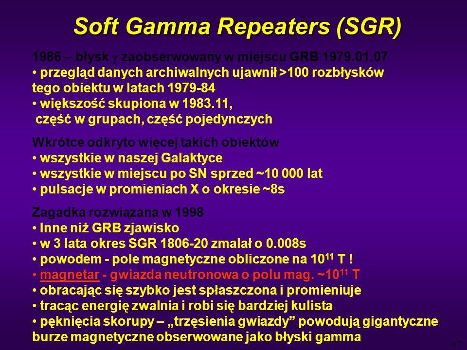 17 Soft Gamma Repeaters (SGR) 1986 – błysk zaobserwowany w miejscu GRB 1979.01.07 przegląd danych archiwalnych ujawnił >100 rozbłysków tego obiektu w latach 1979-84 większość skupiona w 1983.11, część w grupach, część pojedynczych Wkrótce odkryto więcej takich obiektów wszystkie w naszej Galaktyce wszystkie w miejscu po SN sprzed ~10 000 lat pulsacje w promieniach X o okresie ~8s Zagadka rozwiązana w 1998 Inne niż GRB zjawisko w 3 lata okres SGR 1806-20 zmalał o 0.008s powodem - pole magnetyczne obliczone na 10 11 T .
