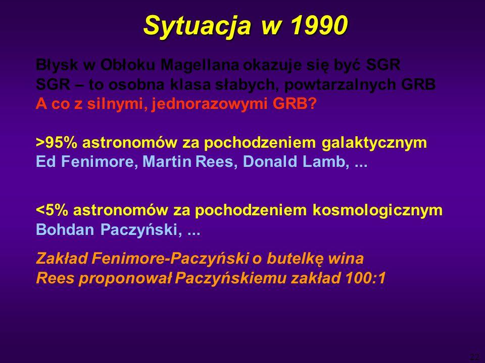 22 Sytuacja w 1990 Błysk w Obłoku Magellana okazuje się być SGR SGR – to osobna klasa słabych, powtarzalnych GRB A co z silnymi, jednorazowymi GRB.