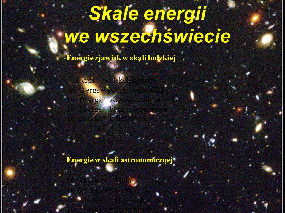 34 Skale energii we wszechświecie Energie zjawisk w skali ludzkiej 1 ergs = podskok komara 10^3 ergs = podrzucenie piłki 10^10 ergs = zderzenie ciężarówki 10^20 ergs = bomba wodorowa 10^26 ergs = killer asteroid Energie w skali astronomicznej 10^33 ergs/s = Słońce 10^39 ergs/s = Nova 10^45 ergs/s = Galaktyka 10^51 ergs/s = Supernova 10^51 ergs/s = GRB