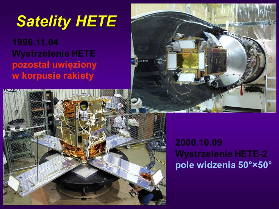 37 Satelity HETE 1996.11.04 Wystrzelenie HETE pozostał uwięziony w korpusie rakiety 2000.10.09 Wystrzelenie HETE-2 pole widzenia 50°×50°