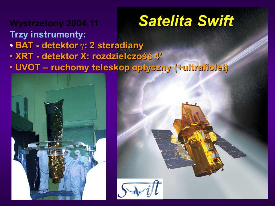 38 Satelita Swift Wystrzelony 2004.11 Trzy instrumenty: BAT - detektor : 2 steradiany BAT - detektor : 2 steradiany XRT - detektor X: rozdzielczość 4 XRT - detektor X: rozdzielczość 4 UVOT – ruchomy teleskop optyczny (+ultrafiolet) UVOT – ruchomy teleskop optyczny (+ultrafiolet)