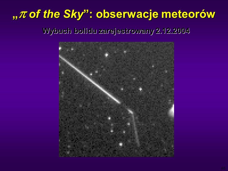 46 of the Sky: obserwacje meteorów of the Sky: obserwacje meteorów Wybuch bolidu zarejestrowany 2.12.2004