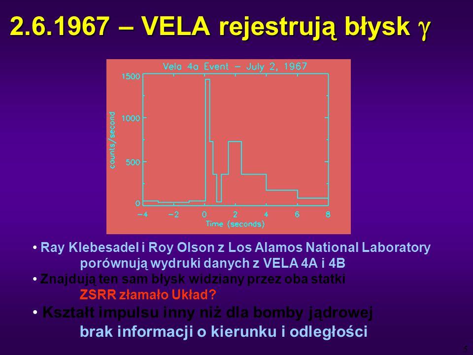 6 1969 – Wystrzelenie VELA 5 i 6 czasowa zdolność rozdzielcza 1/64 s możliwość określenia kierunku (~5°) i odległości 1969-73 – rejestracja 16 błysków 1973 – publikacja wyników odległość > milion km kierunki wykluczają Słońce i planety rozkład ~izotropowy dziennikarze węszą wojnę jądrową między kosmitami podniecenie wśród astronomów