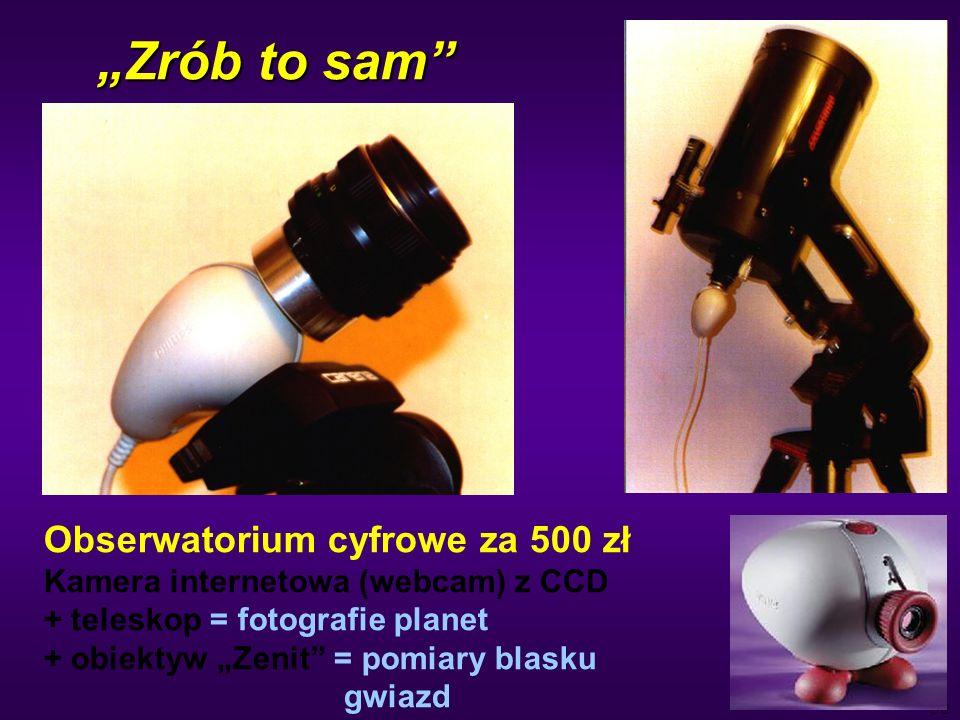 50 Zrób to sam Obserwatorium cyfrowe za 500 zł Kamera internetowa (webcam) z CCD + teleskop = fotografie planet + obiektyw Zenit = pomiary blasku gwiazd