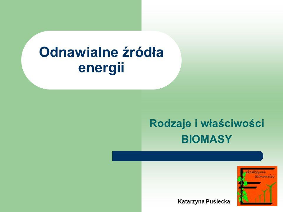 Odnawialne źródła energii Rodzaje i właściwości BIOMASY Katarzyna Puślecka