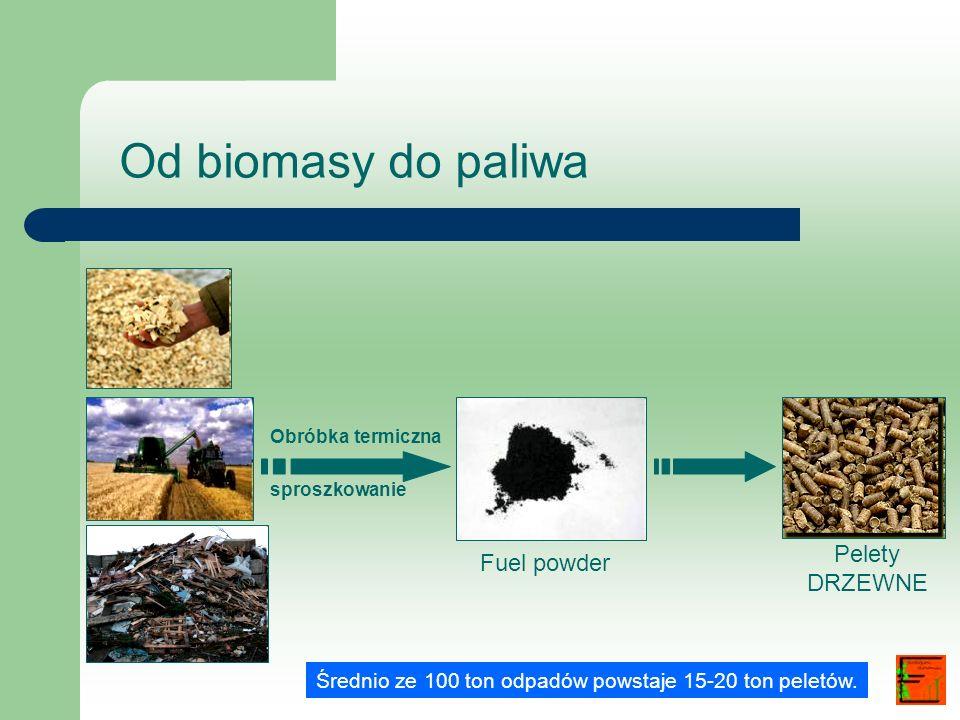 Od biomasy do paliwa Obróbka termiczna sproszkowanie Fuel powder Pelety DRZEWNE Średnio ze 100 ton odpadów powstaje 15-20 ton peletów.