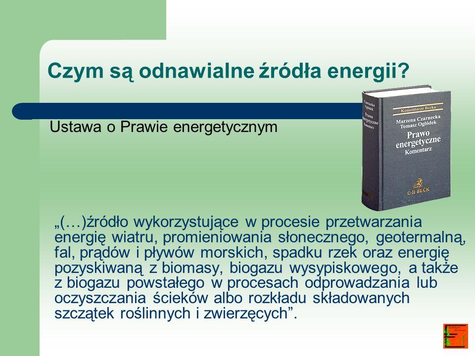 Czym są odnawialne źródła energii? Ustawa o Prawie energetycznym (…)źródło wykorzystujące w procesie przetwarzania energię wiatru, promieniowania słon