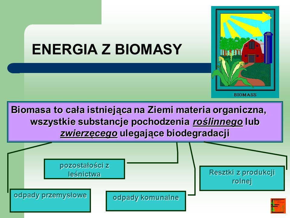 ENERGIA Z BIOMASY Biomasa to cała istniejąca na Ziemi materia organiczna, wszystkie substancje pochodzenia roślinnego lub zwierzęcego ulegające biodeg