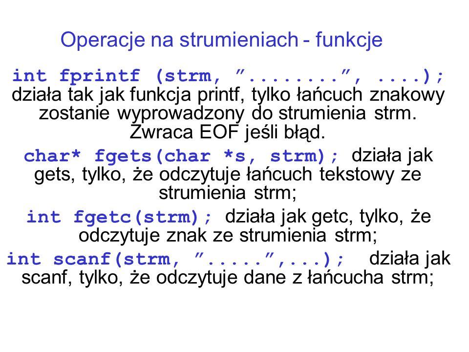Operacje na strumieniach - funkcje int fprintf (strm,........,....); działa tak jak funkcja printf, tylko łańcuch znakowy zostanie wyprowadzony do strumienia strm.