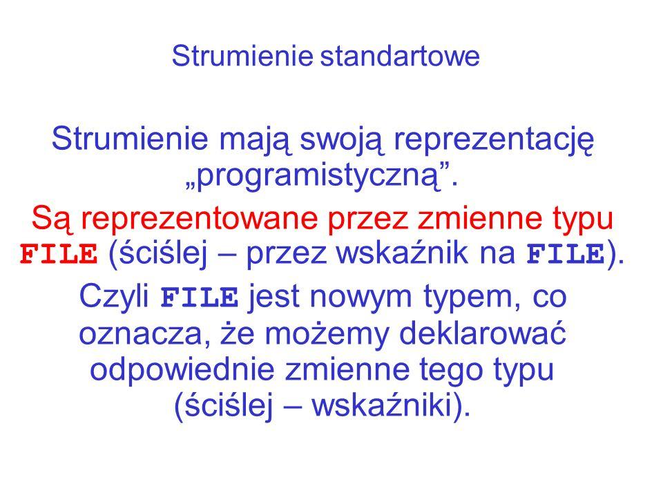Deklarowanie strumieni Jeśli chcemy w programie realizować operacje wejścia-wyjścia inne niż standardowe, na przykład na plikach na dysku, musimy zadeklarować wskaźnik do nowego, określonego przez nas strumienia, np.: FILE *strmj