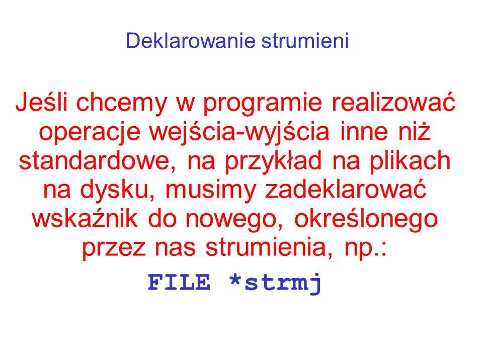 Przykłady prostych operacji na plikach Wykorzystanie eof() Otwierany jest plik jako strumień stream (do odczytu), jeśli po odczytaniu z niego jednego znaku osiągnięto koniec pliku, wyświetlany jest komunikat.