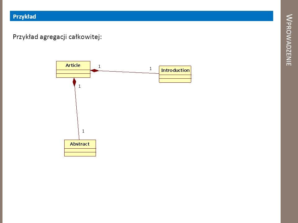 W PROWADZENIE Przykład Przykład agregacji całkowitej: