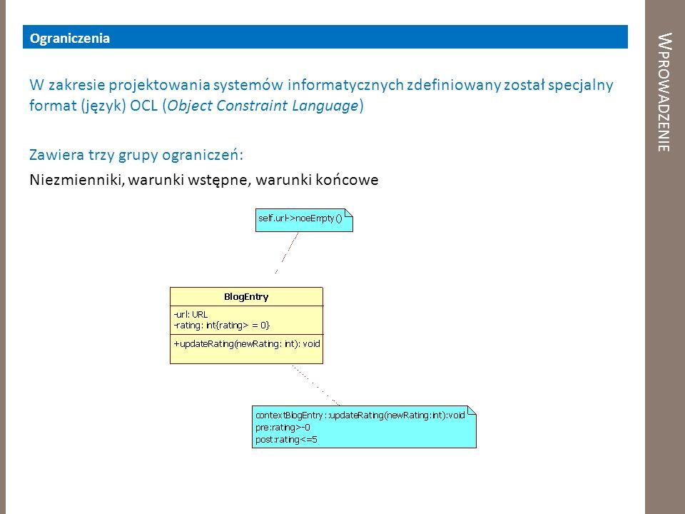 W PROWADZENIE Ograniczenia W zakresie projektowania systemów informatycznych zdefiniowany został specjalny format (język) OCL (Object Constraint Langu