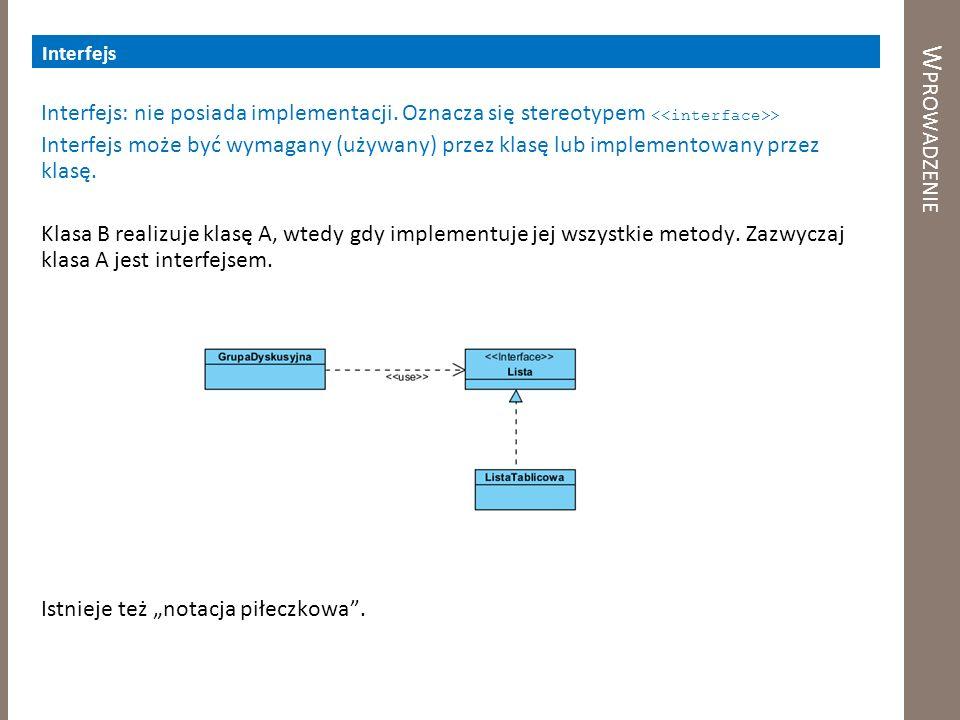 W PROWADZENIE Interfejs Interfejs: nie posiada implementacji. Oznacza się stereotypem > Interfejs może być wymagany (używany) przez klasę lub implemen