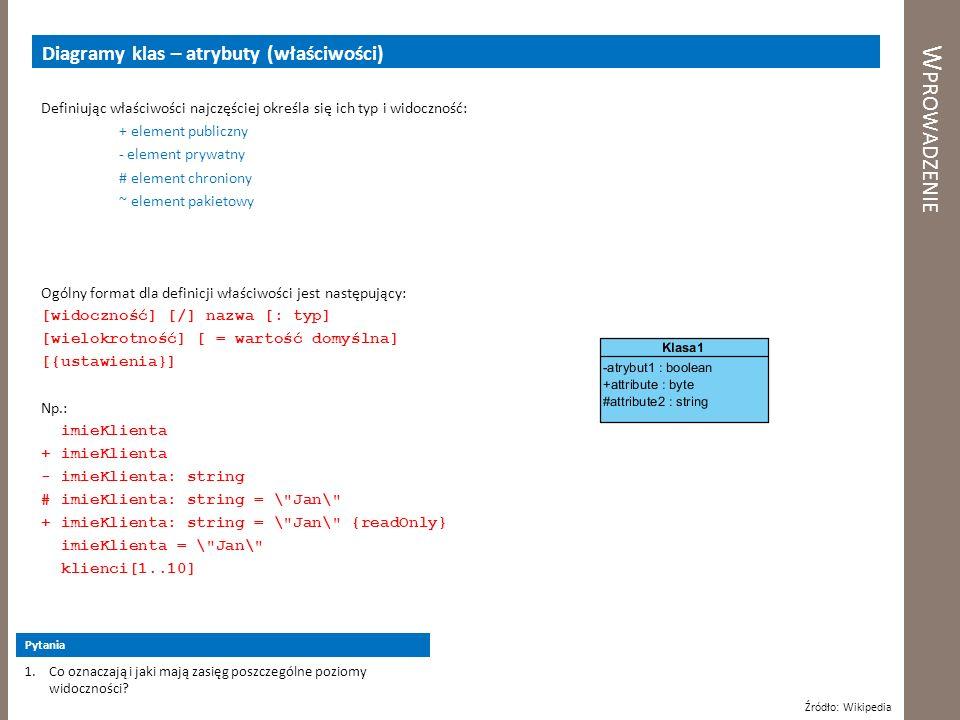 W PROWADZENIE Diagramy klas – atrybuty (właściwości) Z atrybutem mogą być związane dodatkowe ograniczenia, które określają jego właściwości, np.: {ordered} – obiekty wewnątrz cechy są uporządkowane {unordered} – obiekty są nieuporządkowane {sorted} – obiekty uporządkowane {unique} – obiekty wewnątrz cechy nie powtarzają się {nonunique} – obiekty wewnątrz cechy mogą się powtarzać {readOnly} – wartość atrybutu służy tylko do odczytu {frozen} – wartość atrybutu nie może być zmodyfikowana po jej przypisaniu