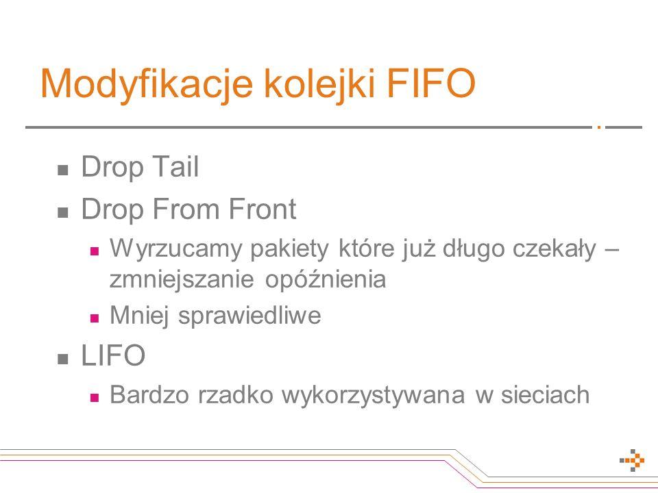 Modyfikacje kolejki FIFO Drop Tail Drop From Front Wyrzucamy pakiety które już długo czekały – zmniejszanie opóźnienia Mniej sprawiedliwe LIFO Bardzo rzadko wykorzystywana w sieciach