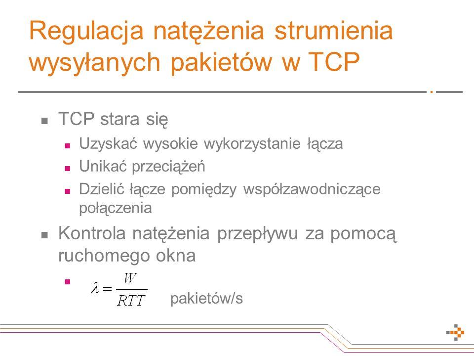 Regulacja natężenia strumienia wysyłanych pakietów w TCP TCP stara się Uzyskać wysokie wykorzystanie łącza Unikać przeciążeń Dzielić łącze pomiędzy współzawodniczące połączenia Kontrola natężenia przepływu za pomocą ruchomego okna pakietów/s